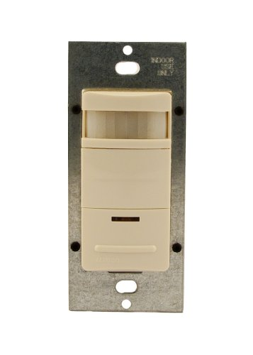 Leviton Oss10-Idt Decora Passive Infrared Wall Switch Occupancy Sensor, 180 Degree, 1200 Sq. Ft. Coverage, Led Adjustable Night Light, Manual On, Light Almond