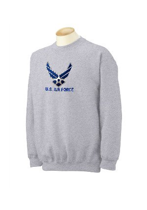 Custom U.S. Air Force Wings Logo On Sweatshirt, Mens Medium, Ash front-1027252