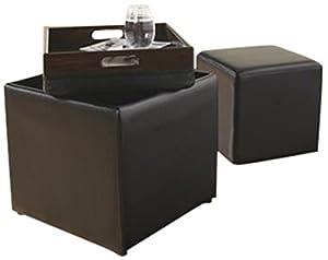 Ashley Furniture 7740311 Cubit Flip Tray Ottoman with Small Matching Ottoman, Black