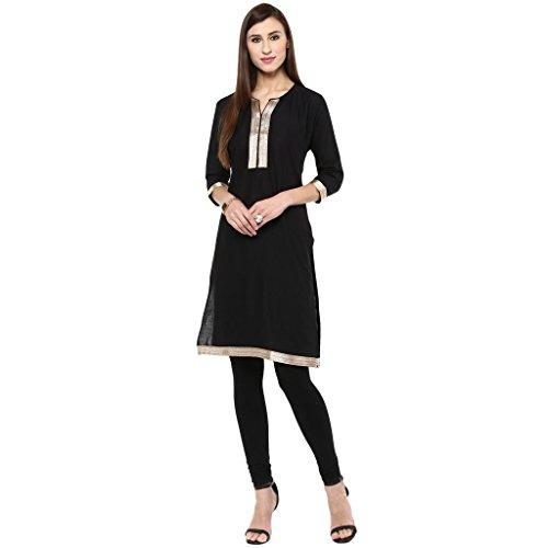 Drapes Women's Black Cotton Kurti 3/4 Sleev With Lace (DK0006, Black, XL)