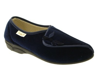 DR KELLER WOMENS DIABETIC ORTHOPAEDIC FUR LINED COMFORT SLIPPERS SHOES WIDE FIT VELCRO LADIES NAVY SIZE 6