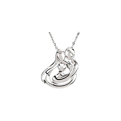 "Clevereve Designer Series Sterling Silver Embraced By Heart 1 Child Family Embrace Pendant Necklace W/ 18"" Chain, Gift Box & Poem Card"