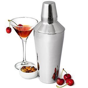 Manhattan Cocktail Shaker by bar@drinkstuff (28 oz / 750ml - 26cm Tall) Stainless Steel 3 Piece Cocktail Shaker with Strainer