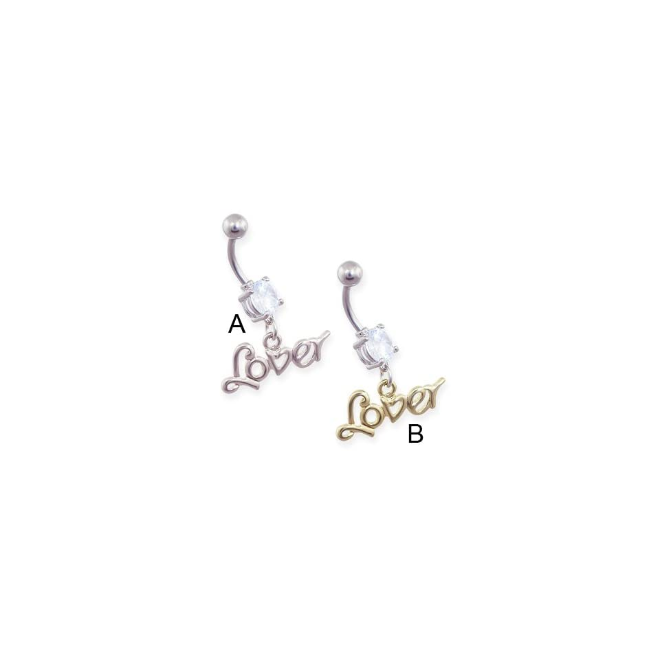 Jeweled belly ring with dangling word Lover, Steel Color
