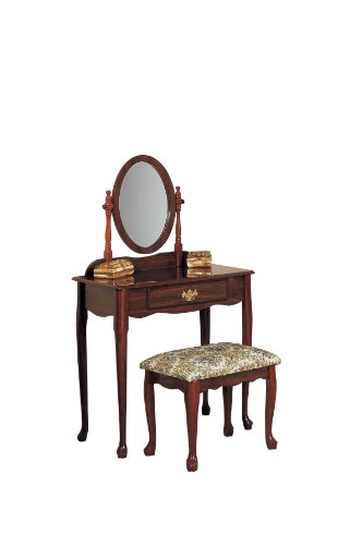 Poundex Queen Ann Vanity Set with Stool, Glossy Cherry