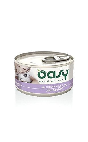 Oasy Cat Mousse 85 gr x34 pz Kitten Pollo alimento umido completo gattini