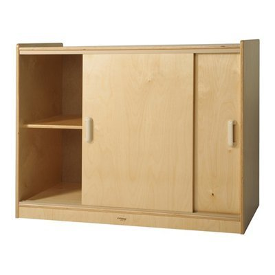 Whitney Brothers Birch Laminate Sliding Doors Storage Cabinet