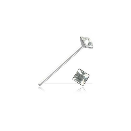 Clou de nez argent strass carré - Jonc Tige 0.5 mm, Longueur 10 mm, Élément 2.35 mm - Crystal