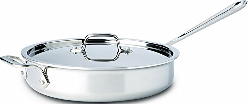 All-Clad 4403 Stainless Steel Tri-Ply Bonded Dishwasher Safe 3-Quart Saute Pan with Lid, Silver (All Clad 3 Qt Saute Pan compare prices)