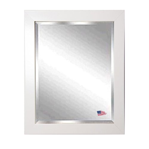 American Made Rayne Glossy White Beveled Wall Mirror, 27.5 X 33.5