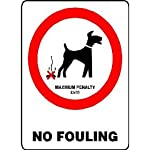 L1437 LARGE NO DOGS FOULING WARNING SAFETY METAL WALL SIGN