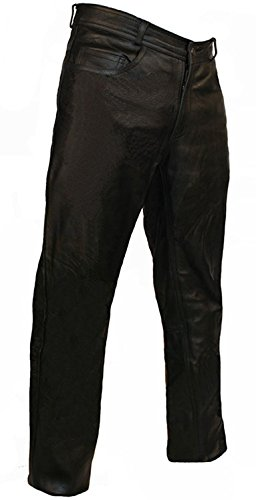 Skintan Mens Leather Classic Motorcycle Trousers Jeans - 31
