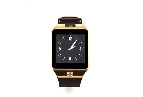 PHtronics ?DZ09 Bluetooth Watch Phone with SIM Card Slot and NFC for IOS Apple iPhone,Android Samsung HTC Sony LG Smartphones(Gold)