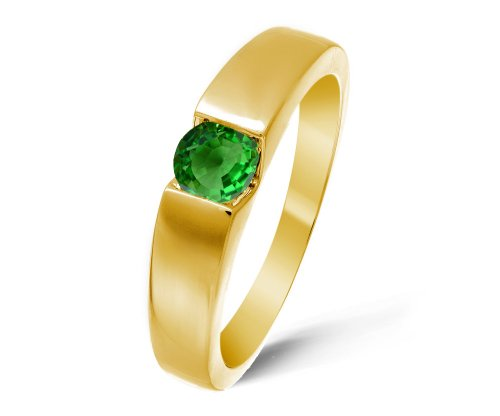 Modern 9 ct Gold Ladies Solitaire Engagement Ring with Tsavorite 0.40 Carat