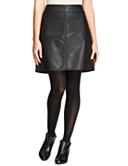 M&S Collection Faux Leather A-Line Mini Skirt