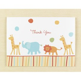 Jungle Animals Thank You Cards - Box Of 25