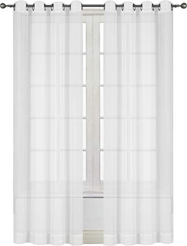 Utopia Bedding Premium White Sheer Curtains - Sheer Voile - White Luxurious - High Thread Window Grommet Curtains - 2 Panel Set - 54 by 84 Inches