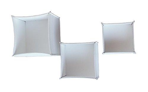KOME 531: Set svuota tasche in cuoio rigenerato composto da 3 pezzi, colore Bianco.
