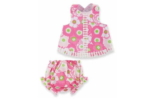 Mud Pie Baby-Girls Newborn Lilly Pad Pinnafore And Bloomer, Pink/Green, 9-12 Months front-525208