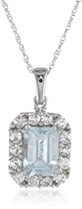 10k White Gold Octagon Aquamarine with Round Created White Sapphire Pendant Necklace, 18