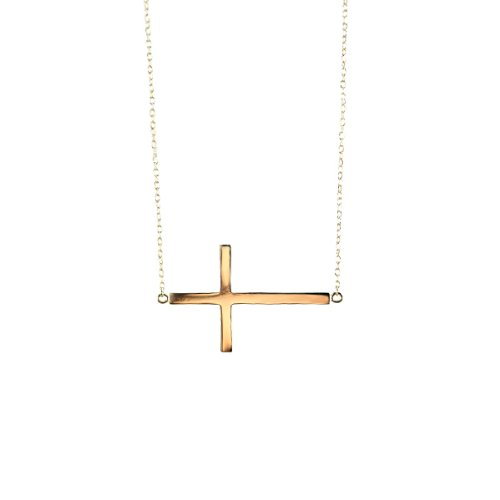apop nyc 14k Yellow Gold Vermeil Sideways Cross Necklace 18 inch Large Cross