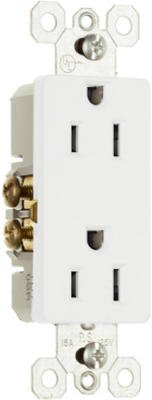 Pass & Seymour 885Wcp8 2 Pole, 3 Wire Decorator Outlet, 15-Amp, 125-Volt, White, 10-Pack