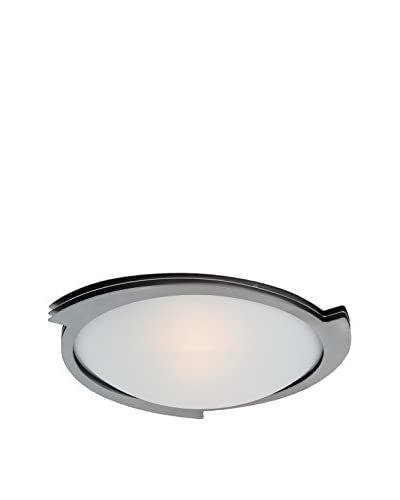 Access Lighting Triton 1-Light 10 Flush Mount, Brushed Steel/Frosted