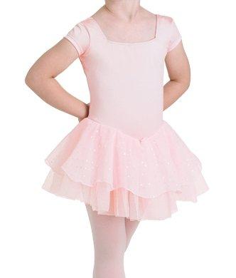 Kinder Ballettanzug mit kurzem Arm und doppeltem Glitzer-Tüllröckchen