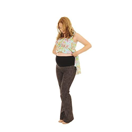 Over Bump Maternity Trousers Cotton Denim Style Long Leg