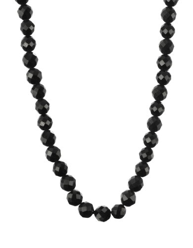 Men's Black Onyx 6mm Round Faceted Bead with Large Sterling Silver Lobster Claw Clasp Necklace, 22