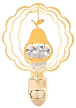 Pear In Ruffled Circle in 24K Gold Plated Night Light..... With Clear Swarovski Austrian Crystal