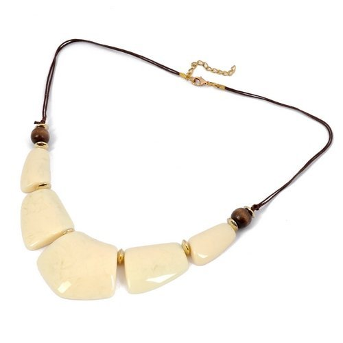 Comeonbuying Fashion Style Jewelry White Acrylic Adorned Lump Rope Pendant Necklace