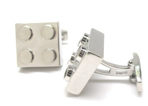 Silver Lego King Cufflinks Cuff Links Nerd Nerdy Party Master Engineer C1