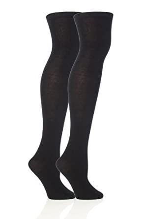 2 Pairs Ladies Warm Over The Knee Socks Size 3-7 UK, All Colours (Black)