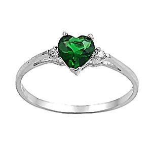 Sterling Silver 1.02ct Heart-cut Created Emerald and Russian Ice CZ Promise Friendship Ring, Jadyn size 5.0