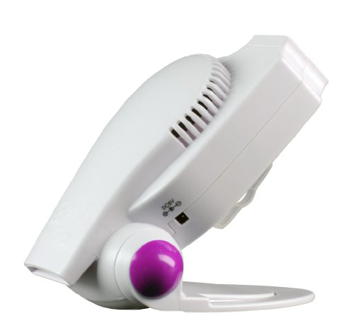 Cool On The Go® - The World'S Most Versatile Hands-Free Personal Cooling Device. Compact Portable Fan System Powered By Usb Or Batteries. White / Purple