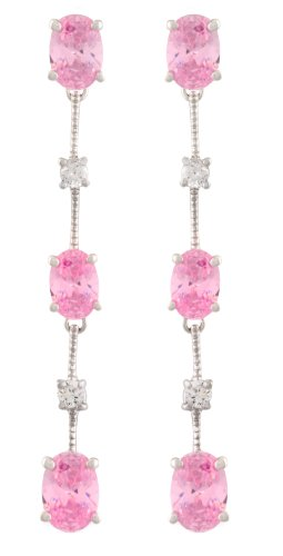 JanKuo October Pink Birthstone Four-prong Basket Long Drop Cubic Zirconia Earrings with Gift Box