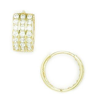 14ct Yellow Gold CZ Small 3 Row Hinged Earrings - Measures 12x12mm