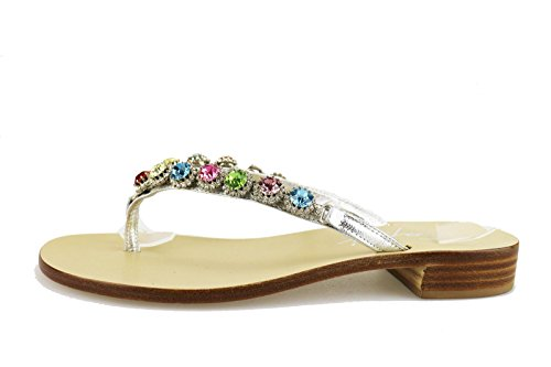 CAPRI sandali donna argento pelle AG568 (38 EU)