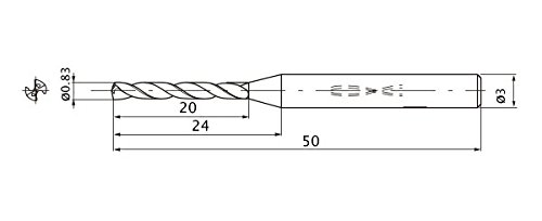 Mitsubishi Materials MWS0083XB MWS Solid Carbide Drill, Internal Coolant, 12 Hole Depth, 0.83 mm Cutting Diameter, 0.17 mm Point Length, 3 mm Shank Diameter