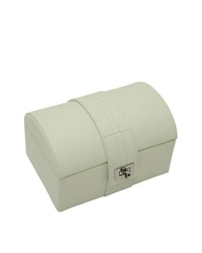 Morelle & Co. Leather Dome Jewelry Box with Ring, Bracelet & Earring Compartments, Cream