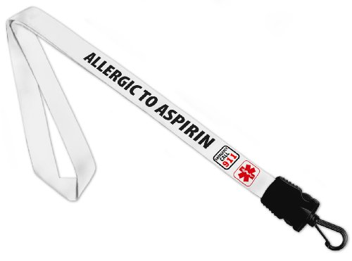 Creative Clam Allergic To Aspirin Medical Alert 34 Inch Warning Info Lanyard Strap