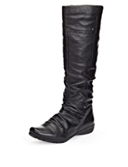 Footglove™ Leather Ruched Long Boots with Insolia®