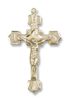 Gold Filled Crucifix Pendant Cross Medal with 24
