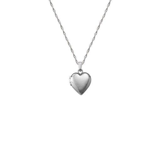 14k White Gold Children's Heart Locket Necklace, 15