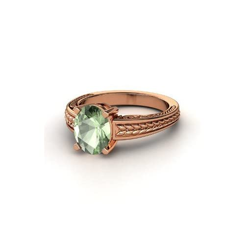 Oval Ceres Ring, Oval Green Amethyst 14K Rose Gold Ring Jewelry