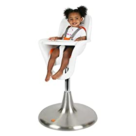 Boon Flair Elite Pneumatic Pedestal Highchair with Stainless Steel Base and 2 Seat Pads - White and