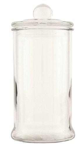 6GL1089XL Clayre & Eef - Bocal en verre avec couvercle - Vase / conteniteur - Transparent ca. 10 x 22 cm