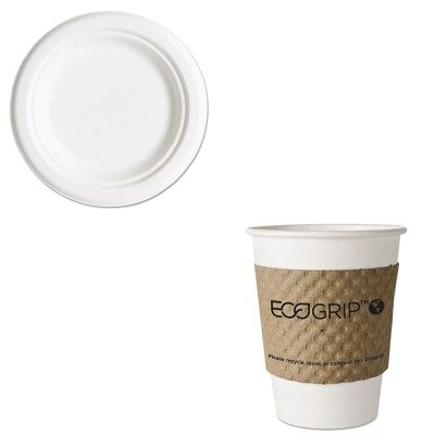 KITECOEG2000ECOEPP016PK - Value Kit - ECO-PRODUCTS,INC. EcoGrip Recycled Content Hot Cup Sleeve (ECOEG2000) and ECO-PRODUCTS,INC. Compostable Sugarcane Dinnerware (ECOEPP016PK)