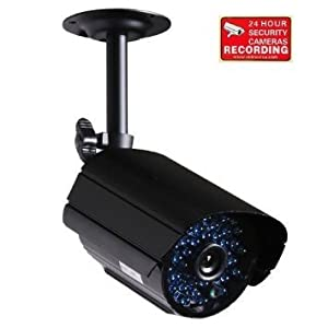 VideoSecu CCTV Bullet Outdoor Security Camera 520TVL High Resolution Built-in Microphone IR-Cut Filter Infrared Day Night Vision Audio Video Camera for DVR Home Surveillance System with Bonus Warning Sticker (Black) CXU